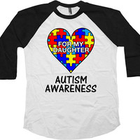 Autism Mom Shirt Autism Awareness Autistic Support T Shirt Autism Dad Gift Autism Clothing Awareness Month Baseball Raglan Tee - SA1045