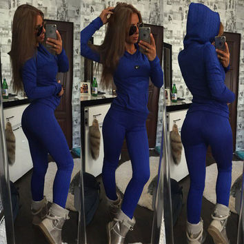 Women's Fashion Twisted Pullover Casual Sportswear Set [9663819727]