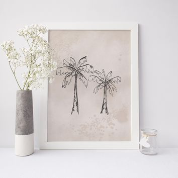 Neutral Palm Tree Illustration Art Print
