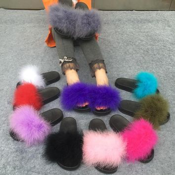 Fashion Online Slippers Fur Furry Open Toe Women Casual Flat Shoes Soft Warm Fluffy Slip On Cute Home Floor Slippers Autumn Winter 10 Colors