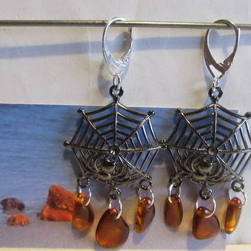 100% Natural Baltic #Amber #Earrings #Web Spider #Silver plated cognac transparent beads free shape souvenir gift present Bernstein Ohrringe