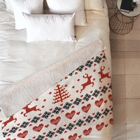 Natt Knitting Red Deer White Hearts Fleece Throw Blanket