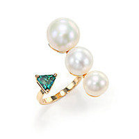 Delfina Delettrez - Handroid 9MM-11MM White Pearl, Green Topaz & 18K Yellow Gold Trillion Wrap Ring - Saks Fifth Avenue Mobile