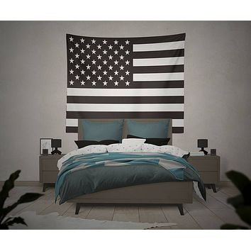 USA Flag Black White American Flag Wild and Free Tapestry Wall Hanging Meditation Yoga Grunge Hippie Wanderlust