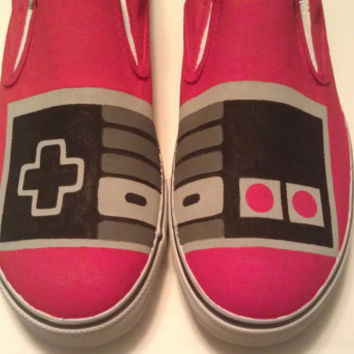 Hand Painted NES Controller Vans Slip On Shoes by SceeneShoes