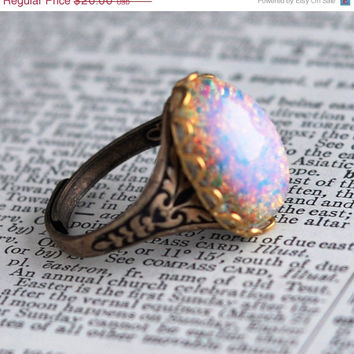 SALE Opal Ring, Harlequin Art Glass, Simulated Glass Opal, Vintage Glass Opal, Antiqued Brass Ring