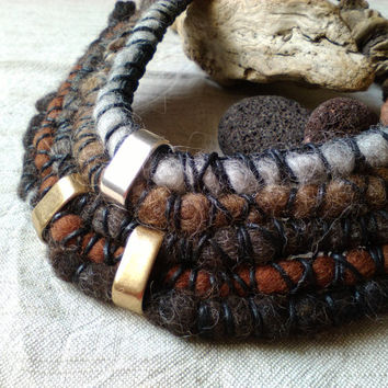 Felt Rope Necklace, Handmade Fiber Necklace, Earth Colors, Statement Necklace, Tribal Necklace, Boho Jewelry, Wool Jewelry,Art Jewelry