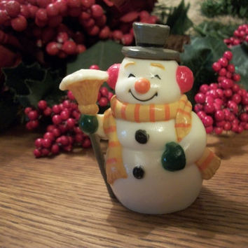 Happy Snowman Resin Figurine Vintage Christmas Home Decor Collectible Winter Holiday Keepsake