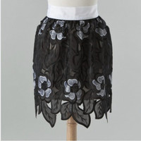 Exquisite sequined black & white retro cafe apron with unique scalloped hem and extra long ties. One Size. Free shipping.