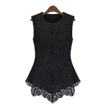 2015 Newest Women's Summer Hollow Out Lace Patchwork T-Shirt Sleeveless T-Shirts Round Neck Zipper T Shirt S-XXL PE3007*50