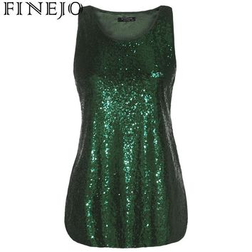 FINEJO Women's Tank Tops Summer Sexy Embellished Sequin Plus Size Vest Women Sleeveless Party Solid Fashion Feminina Pullover