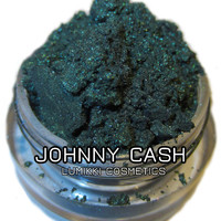 Johnny Cash Dark Green Glitter Shimmer Natural Mineral Eyeshadow Mica Pigment 10 Grams Lumikki Cosmetics