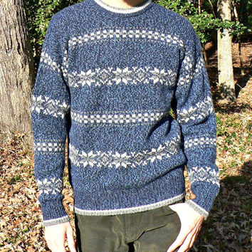 Fair Isle Wool Blend Snowflake Sweater - Authentic Issue - 1980's - Heather Blue & White - Men's Size Large (L)