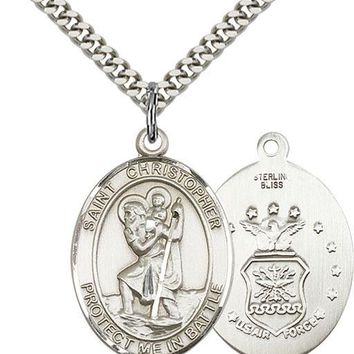 925 Sterling Silver St Christopher Air Force Military Catholic Medal Necklace 617759844627