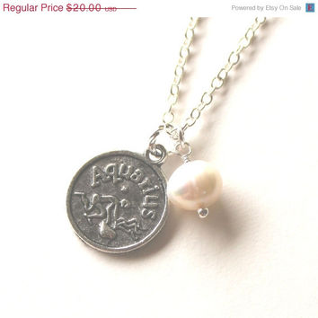 VALENTINES DAY SALE Aquarius astrology zodiac star sign charm and white pearl silver necklace