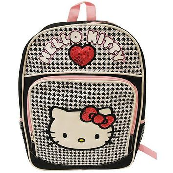 Hello Kitty Backpack - Black & White Checkerboard with Sequin Heart