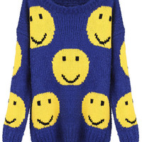 "ROMWE | ""Smiling Face"" Blue Jumper, The Latest Street Fashion"