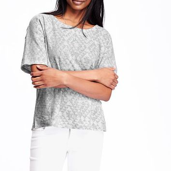 Jacquard Drop Shoulder Tops