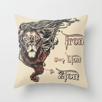 Rastafarian Iron Like Lion in Zion, peace, love, reggae music king Throw Pillow by Peter Reiss