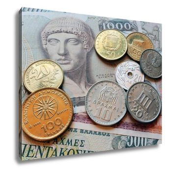 Gallery Wrapped Canvas, Greek Drachma Coins