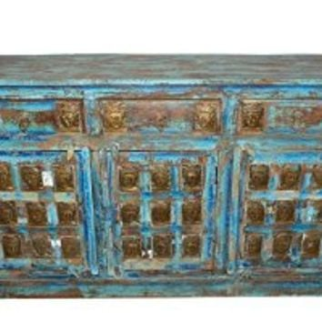 Antique Sideboard Zen Console Dresser Buddha Carving Chest Blue Distressed Furniture