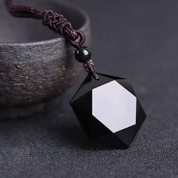 Black Obsidian Hexagram Necklace Star of RongDe Pendant Lucky Love Natural Stone Women Men Couple Necklace Judaism Jewelry