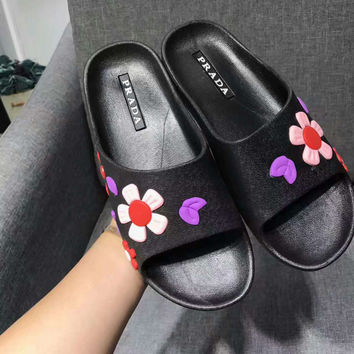 PRADA flower Casual Sandal Slipper Shoes Flip flop pink purple  H-ALXY JL