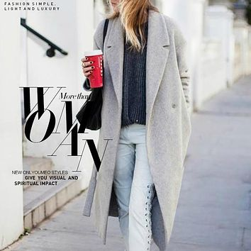 Women's Grey Wool Coats Winter Long, Warm x-Long Oversize Cashmere Coats Light Grey