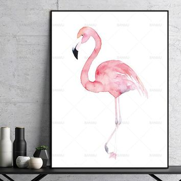 wall art Poster Wall Pictures for Home Decoration Watercolor Flamingo Canvas Art Print Painting Giclee Print Wall Decor