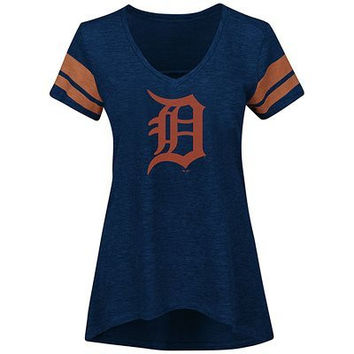 MLB Detroit Tigers Women's Check the Tape V-Neck T-Shirt