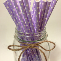 25 Lavender Polka Dot paper straws / baby bridal shower decorations / candy dessert buffet table // wedding // First birthday/new year party