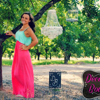 SUMMER LOVIN MINT & CORAL MAXI DRESS