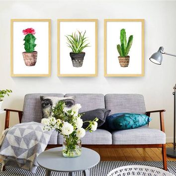 Canvas Cactus Water Color Art Poster
