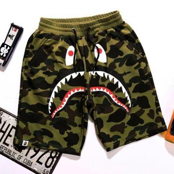 PEAPIH3 BAPE SHARK Fashion Shark mouth print Camouflage green blue purple shorts pants F