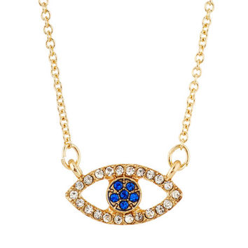 Lydell NYC Good Vibes Only Crystal Evil Eye Pendant Necklace, Gold/Multi