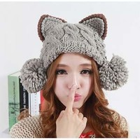 Meow Meow Kitty Knit Beanie