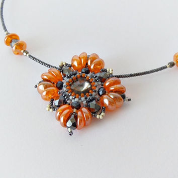 Orange grey Swarovski crystal beadwork necklace, elegant necklace, party necklace, bridesmaids necklace, crystal pendant, office jewelry