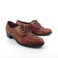 Oxford Leather Shoes Brown Vintage 1980s Heeled Partners Women's size 9