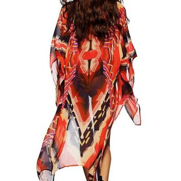 LMF78W Red Tribal Print Open Front Kaftan Beach Cover Up