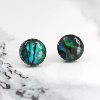 fake plugs, opal stud earrings, sterling silver plated, teal, black, bohemian, boho chic