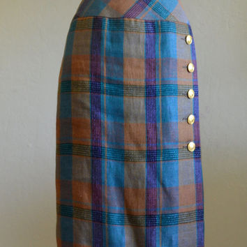 Amazing Vintage Celine Wool Skirt, Plaid with Gold Logo Buttons, Knee Length Pencil Skirt, Fall Colors, Size 36, 1970s