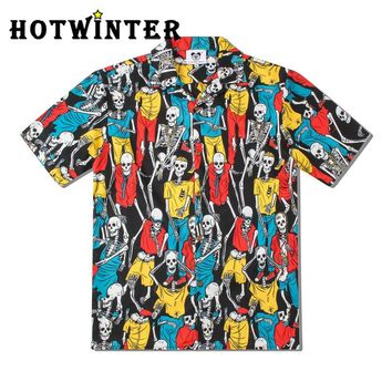 Summer Men Creative Skeleton Print Casual Short Sleeve Beach Shirt Top