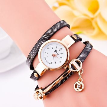 Women's Fashion Ladies Leather Rhinestone Analog Quartz Wrist Watches