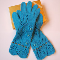 Knit Cashmere gloves with fingers, luxurious one of a knit pair of blue cashmere gloves with high quality beads SALE