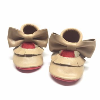 Beige Mary Janes with red sole