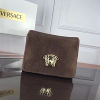 VERSACE WOMEN'S SUEDE LEATHER INCLINED CHAIN SHOULDER BAG
