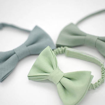 linen green shades bow ties,matte looks,greyed jade,pistachio,hemlock,dusty shale,wedding ties,groom,groomsmen,men,wedding set,green party