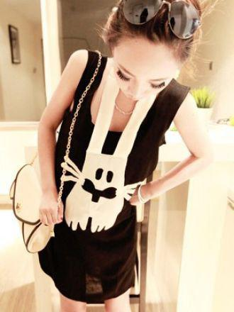 Black Scoop Neck Sleeveless Rabbit Print Halter Cotton T-Shirt - Sheinside.com