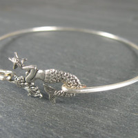 Silver Mermaid Bangle Bracelet - Nautical Jewelry - Mermaid Jewelry - Beach Jewelry - Mermaid Bracelet - Nautical Bracelet
