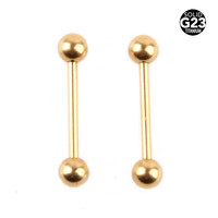 1PC G23 100% Titanium Tongue Rings Gold Andozied Piercings Straight Barbells Catiliage Rings Nipple Piercing Body Jewelry